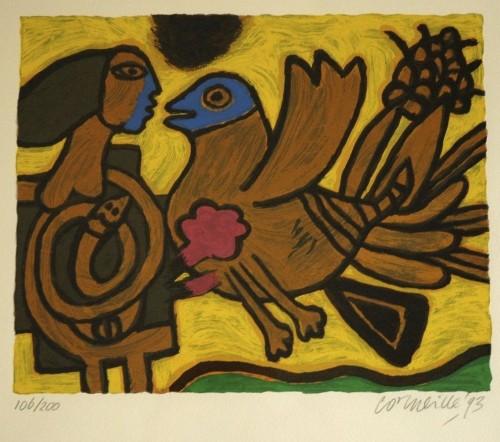 Vogel En Vrouw by Guillaume Corneille
