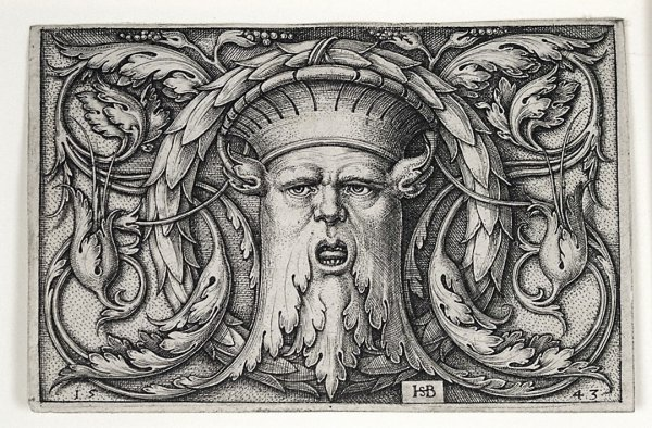 Panel With A Mascaron by Hans Sebald Beham at Harris Schrank Fine Prints (IFPDA)