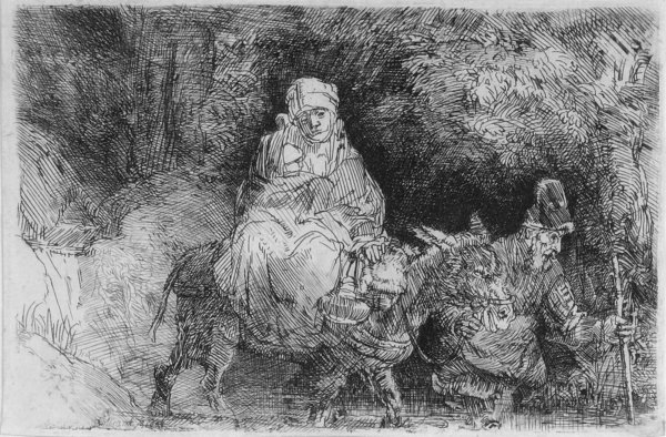 The Flight Into Egypt, Crossing A Brook by Harmensz van Rijn Rembrandt