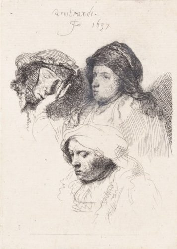 Three Heads Of Women, One Asleep by Harmensz van Rijn Rembrandt