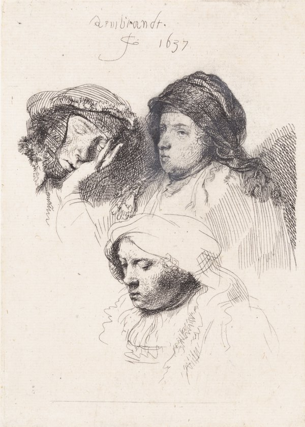 Three Heads Of Women, One Asleep by Harmensz van Rijn Rembrandt