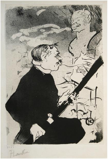 Pour Toi!… (for You!) (désiré Dihau With His Bassoon) by Henri de Toulouse-Lautrec