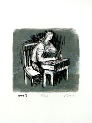 Girl Seated At Desk V by Henry Moore