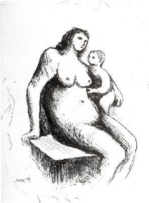 Mother & Child V by Henry Moore at The White House Gallery