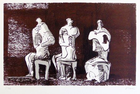 Three Seated Figures In Setting by Henry Moore at