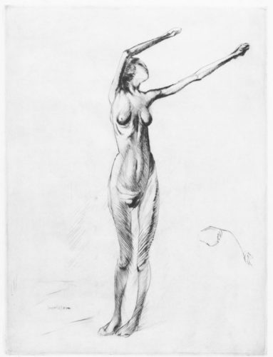 Nude Standing, With Arms Raised by Jacques Villon at R. S. Johnson Fine Art (IFPDA)