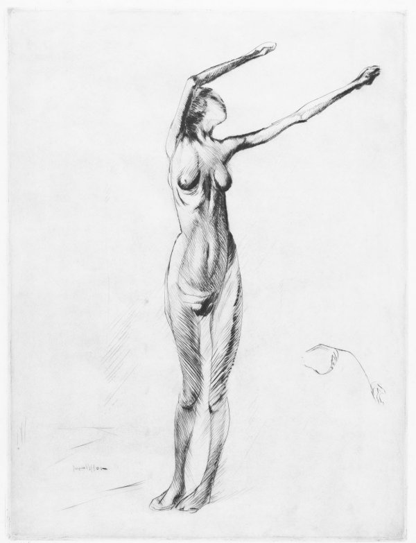 Nude Standing, With Arms Raised by Jacques Villon