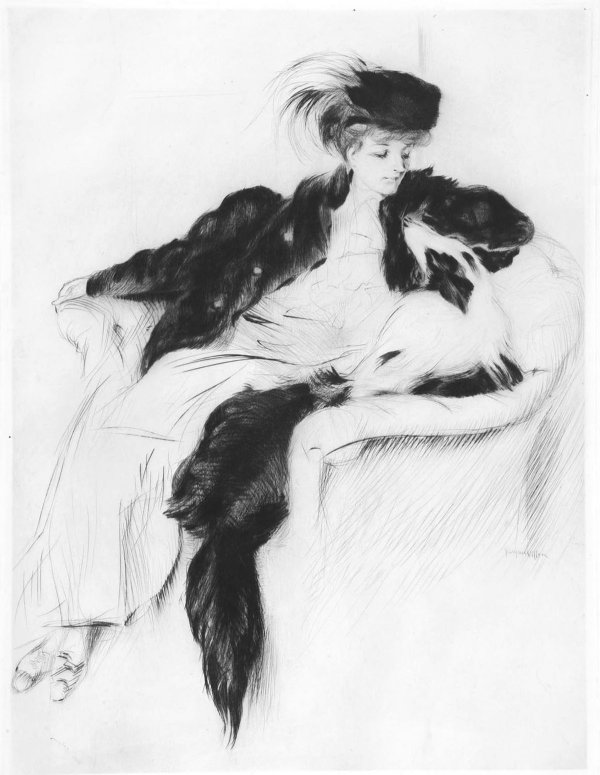 Woman With Collie Dog by Jacques Villon