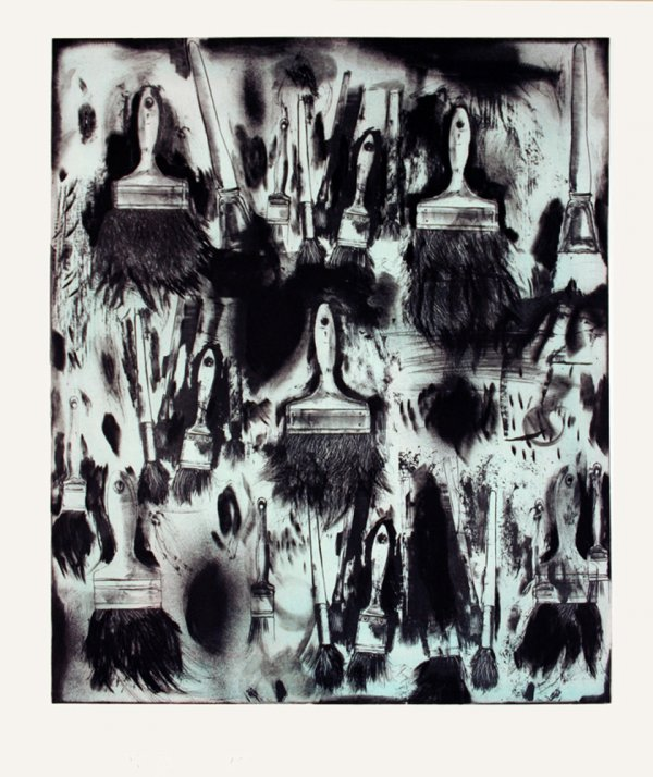 Cobalt Teal Paint Brushes by Jim Dine