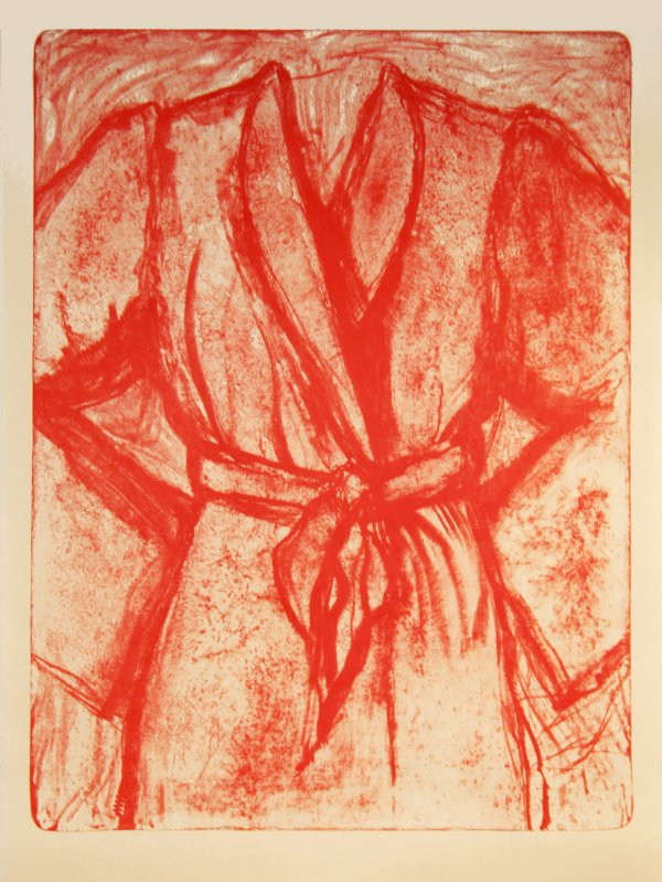 Cream And Red Robe On Stone by Jim Dine