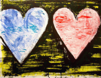 Two Hearts At Sunset by Jim Dine at