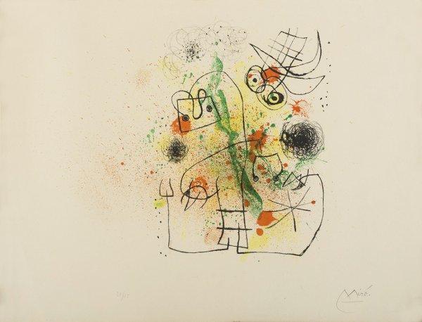 Femme Et Oiseau Dans La Tourmente by Joan Miro at Grabados y Litografias.com