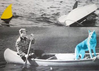Man, Dog (blue), Canoe/shark Fins (one Yellow), Capsized Boat by John Baldessari at Kenneth A. Friedman & Co.