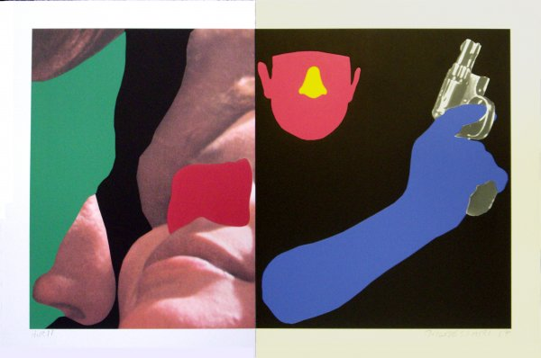 Noses & Ears, Etc.: Couple And Man With Gun by John Baldessari at John Baldessari
