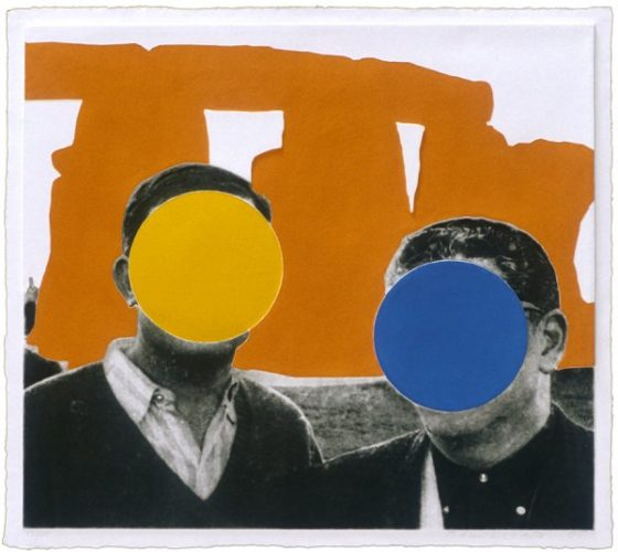 Stonehenge (with Two Persons) Orange by John Baldessari