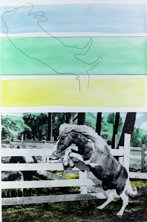 Three Colors (with Horse Ascending) by John Baldessari
