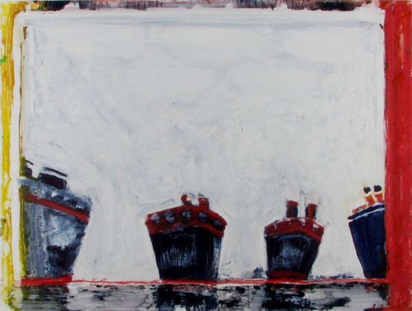 4 Boats Yellow Red Sides by Katherine Bradford