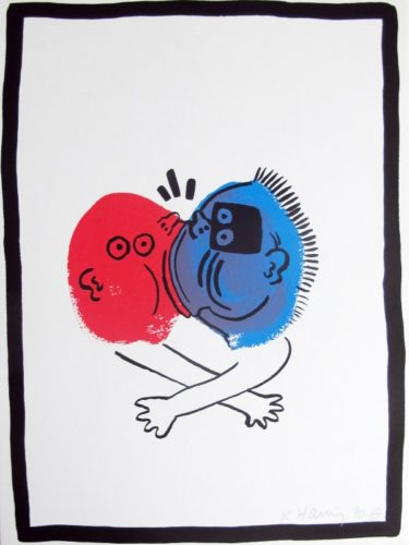 Story Of Red & Blue #19 by Keith Haring at