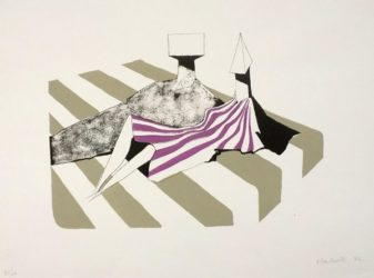 Seated Figures On Stripes Ii by Lynn Chadwick at ModernPrints.co.uk