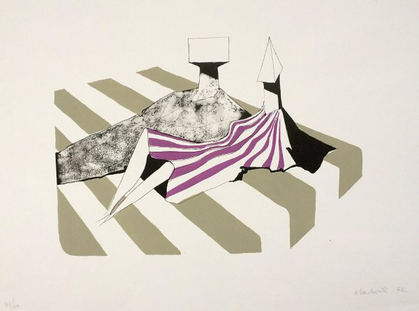 Seated Figures On Stripes Ii by Lynn Chadwick