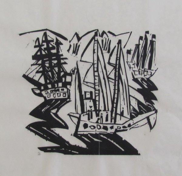 Ships (three Sailing Ships) by Lyonel Feininger