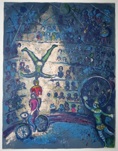 Acrobats Performing by Marc Chagall at