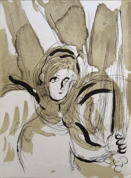 Ange à L'épée (angel With A Sword) by Marc Chagall