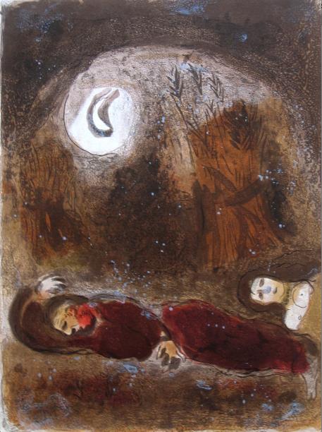 Ruth Aux Pieds De Booz (ruth At The Feet Of Boaz) by Marc Chagall