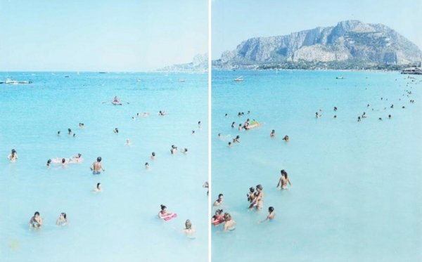 Monte Pellegrino Diptych by Massimo Vitali at Vogtle Contemporary