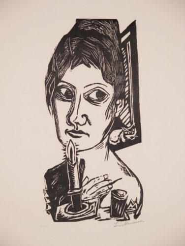 Frau Mit Kerze by Max Beckmann at