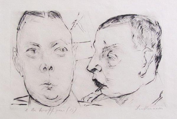 Zwei Autooffiziere by Max Beckmann