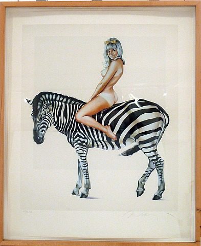 Girl On A Zebra by Mel Ramos