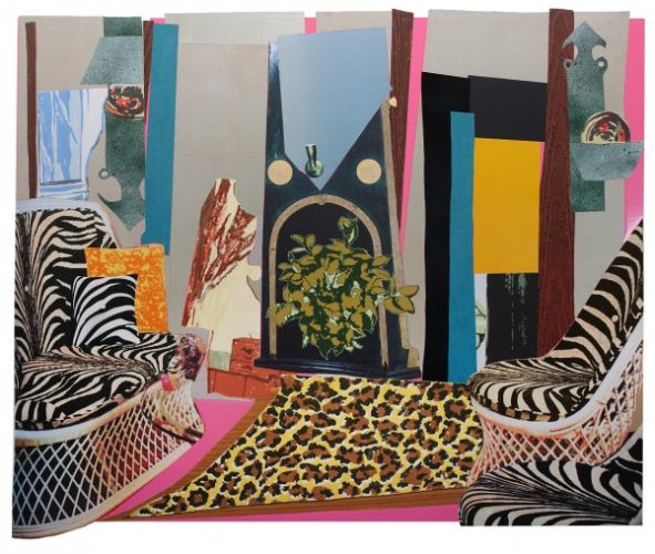 Interior: Zebra With Two Chairs And Funky Fur by Mickalene Thomas at