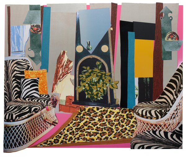 Interior: Zebra With Two Chairs And Funky Fur by Mickalene Thomas