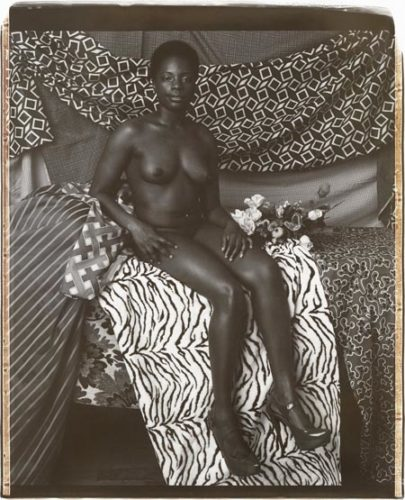 Portrait Of Marie Sitting In Black And White by Mickalene Thomas