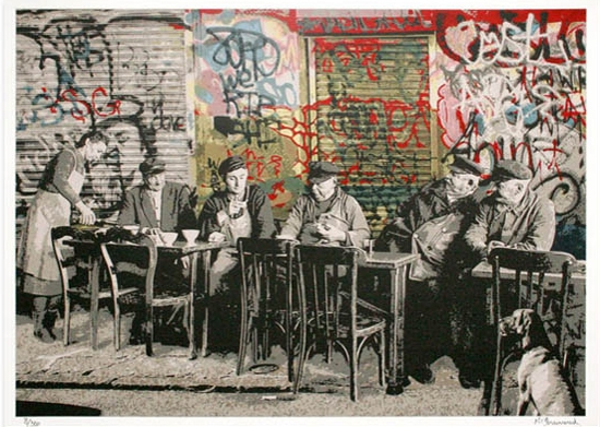 Le Bistro by Mr. Brainwash at Lieberman Gallery