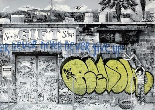 Never Give Up by Mr. Brainwash at Lieberman Gallery