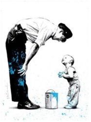 Not Guilty (blue) by Mr. Brainwash at Lieberman Gallery