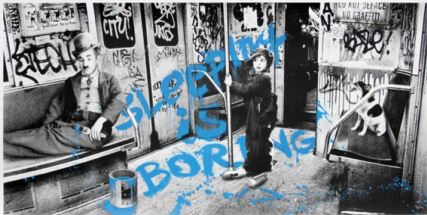 Sleeping Is Boring (blue) by Mr. Brainwash