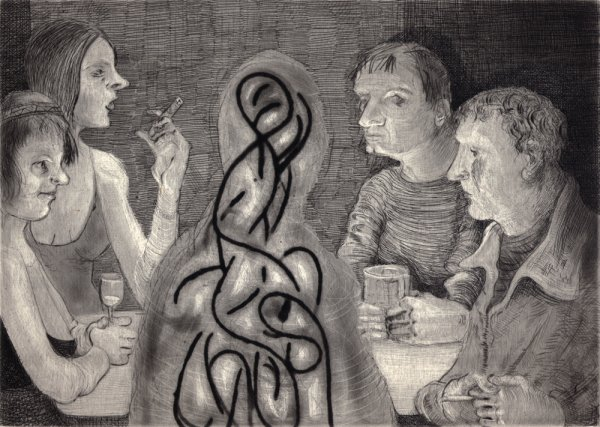 Drinks With Possible Spirit Type Entity by Nicole Eisenman