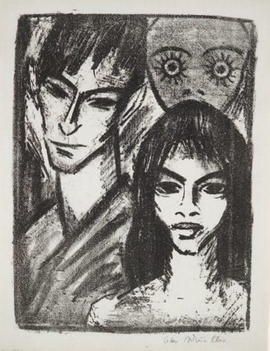 Selbstbildnis Mit Modell Und Maske by Otto Mueller at