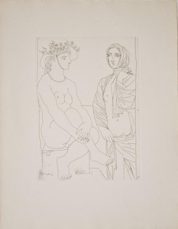 Au Bain, Femme Au Chapeau à Fleurs Et Femme by Pablo Picasso