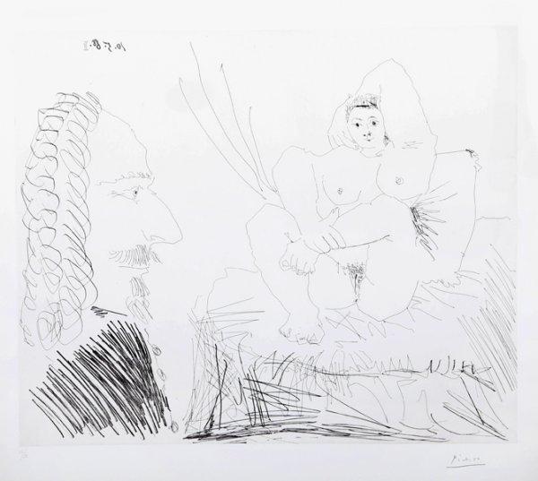 Courtisane Au Lit Avec Un Visiteur  From The 347 S by Pablo Picasso