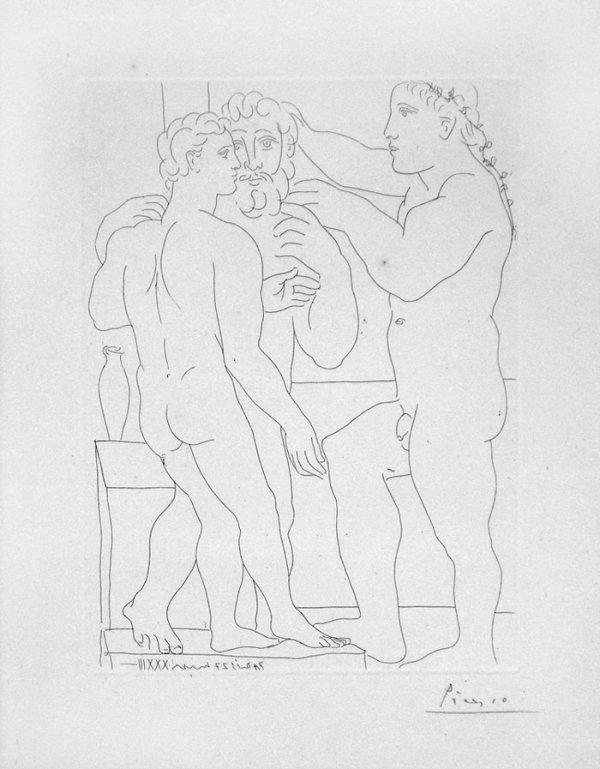 Deux Hommes Sculptes (two Male Statues) by Pablo Picasso