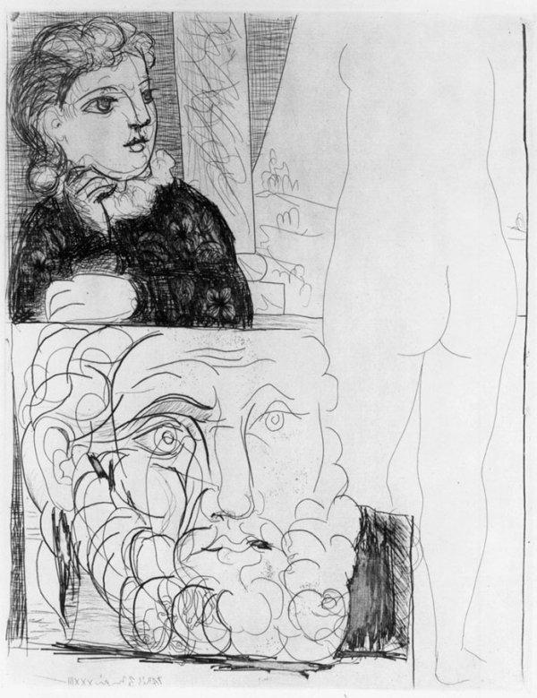 Femme Accoudée Sculpture De Dos Et Tête Barbue by Pablo Picasso