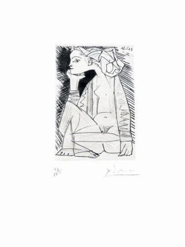 Femme Assise En Tailleur: Geneviève Laporte by Pablo Picasso