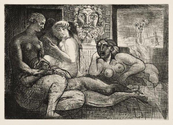 Femmes Entre Elles Avec Voyeur Sculpta by Pablo Picasso