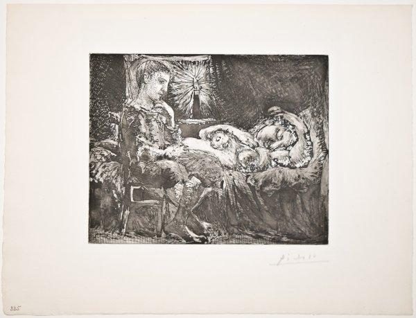 Garçon Pensif Veillant Une Dormeuse by Pablo Picasso
