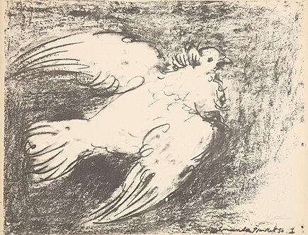 La colombe en vol, fond noir by Pablo Picasso