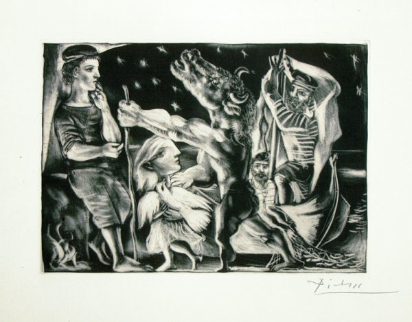 Minotaure Aveugle Guide Par Une Fillette Dans La Nuit From The Vollard Suite by Pablo Picasso at